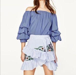 Zara Striped Embroidered Ruffle Mini Skirt